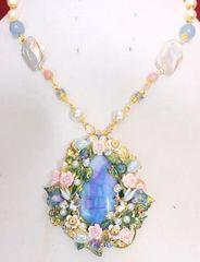 SOLD! 5335 Genuine Genuine Huge Blue Solar Quartz Fairy Mystical Pendant Necklace