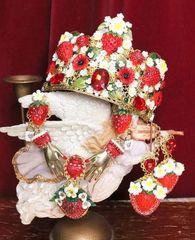 5348 Alta Moda Strawberry Crystal Flowers Headband Crown