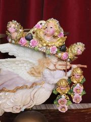 5349 Alta Moda Vivid Chubby Cherubs Angels Hand Painted Pink Headband Crown