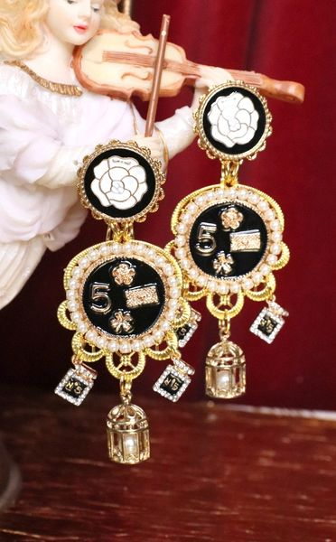5352 Madam Coco Number 5 charms Camellia Top Earrings