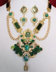 SOLD! 5356 Set Of Medieval Eagle Genuine Malachite Emeralds Necklace+ Earrings