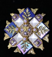 5365 Baroque Lilac Blue Iridescent Huge Brooch