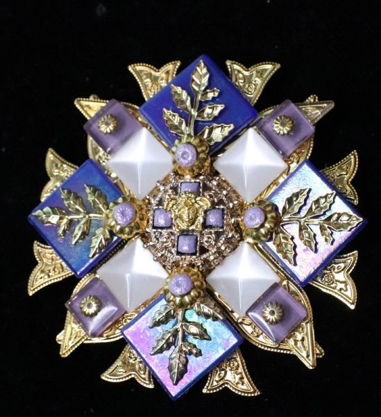 5365 Baroque Lilac Blue Iridescent Huge Brooch