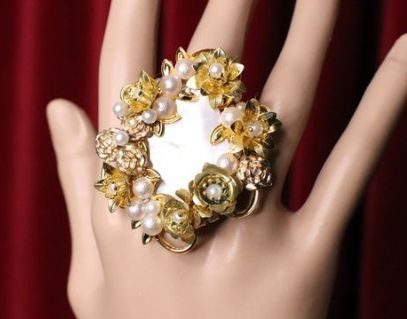 SOLD! 5374 Genuine Huge Mother Of Pearl Gold Flowers Pearl Cocktail Adjustable Ring
