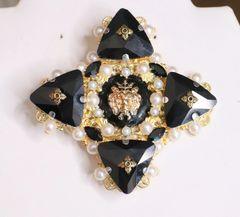 5378 Baroque Black Crystal Lion Huge Brooch
