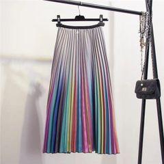 5388 Designer Trendy Pleated Rainbow Pastel Skirt Size US2-US4