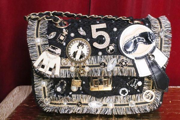 5395 Madam Coco Tweed Embellished Brooches Crossbody Handbag