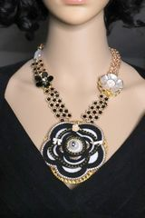 5414 Madam Coco Long Huge Camellia Number 5 Necklace
