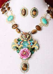 5418 Set Of Genuine Tiger Eye Gemstones Solar Quartz Tiger Rose l Necklace