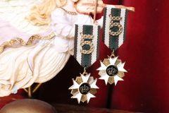 5421 Madam Coco Medal Order Number 5 Unusual Studs Earrings