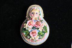5423 Russian Doll Matryoshka Hand Painted Enamel Huge Brooch