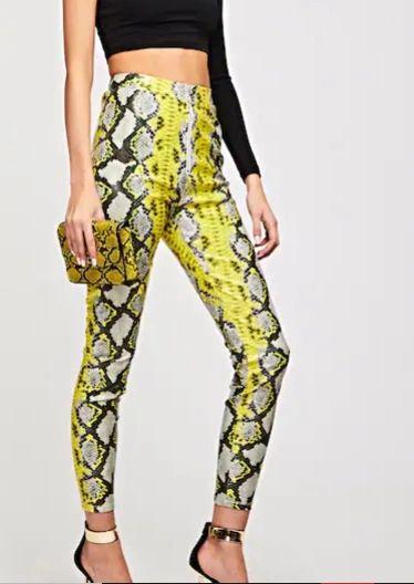 5431 Runway Trendy PU Leather Snake Bright Print Pants US4