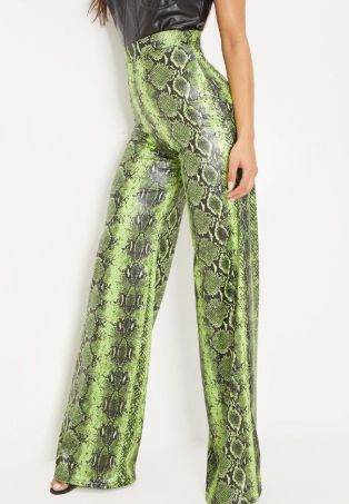 5028 Snake Leather like Wide Leg Pants US4_US6