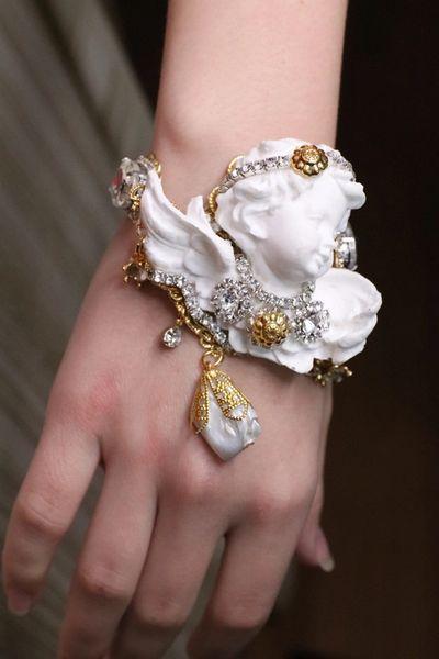 SOLD! 5442 Baroque Chubby White Cherub Roman Column Massive Bracelet