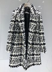 5447 High-End Runway Wool Blend Large Hounds-tooth Coat US4-US6