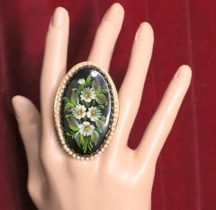 "5453 Hand Painted Russian Style ""Jewelry Box"" Cocktail Adjustable Ring"