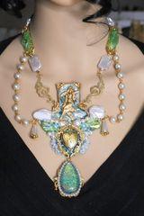 SOLD! 5459 Set Of Mermaid Genuine Triplet Australian Opal Biwa Pearl Tourmaline Gemstones Necklace+ Earrings