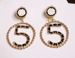 5478 Madam Coco Number 5 Camellia Studs Earrings