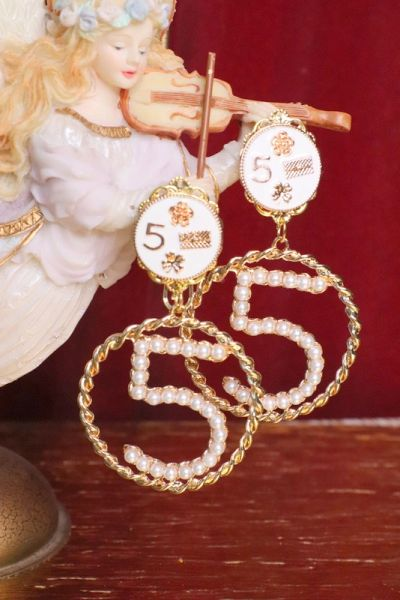 5479 Madam Coco Number 5 Camellia Studs Earrings