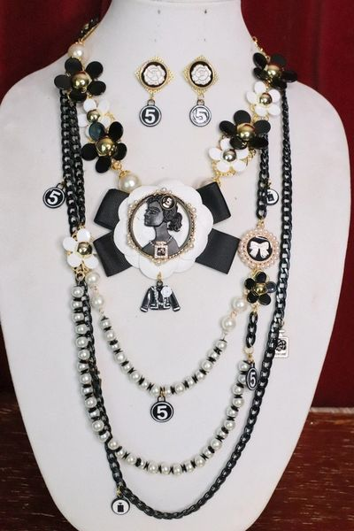 5484 Set Of Madam Coco Black Portrait Camellias Long Necklace+ Earrings