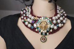 5487 Crochet Pearl Warm Lion Collar Necklace