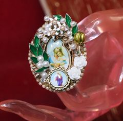 5488 Stunning Pearl Virgin Mary Madonna Cocktail Adjustable Ring