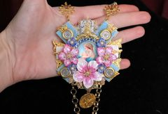 5489 Saint Church Madonna Virgin Mary Pink Orchids Cameo Pendant