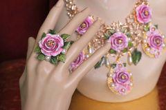 5505 Hand Painted Rose Leaf Elegant Cocktail Adjustable Ring