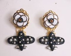 5507 Madame Coco Airplane Camellia Top Earrings Studs