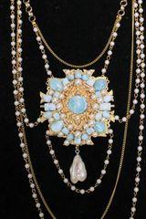 SOLD! 5509 Genuine Caribbean Larimar Victorian Pearl Huge Pendant Necklace