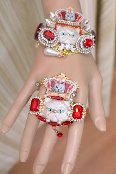 SOLD! 5530 Baroque Enamel Cat Crown Massive Cocktail Adjustable Ring