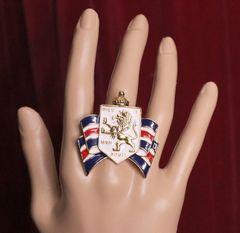 SOLD! 5549 Heraldic Enamel Lion Family Shield Cocktail Adjustable Ring