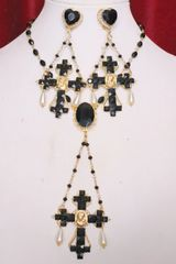 5550 Baroque Runway Black Cross Madonna Virgin Mary Pendant Necklace