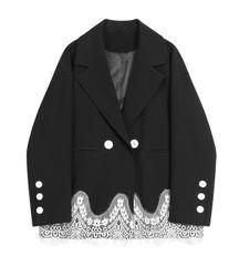 5558 High End Oversized Black Designer Elegant Lace detail Jacket Blazer