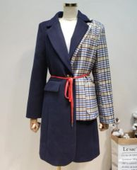 5560 High End Double Irregular Check Coat