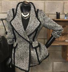 5563 High End Tweed Grey/ Black Elegant Blazer