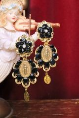 5568 Madonna Virgin Mary Light Weight Black Tile Studs Earrings
