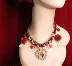 5572 Baroque Amore Hearts Elegant Choker Roses Necklace