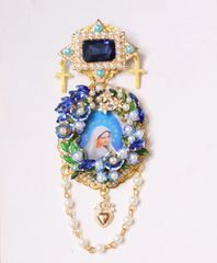 SOLD! 5588 Madonna Virgin Mary Blue Cameo Massive Brooch