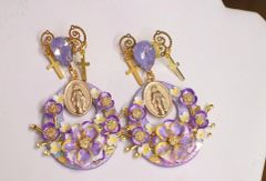 5625 Madonna Virgin Mary LavenderStuds Earrings