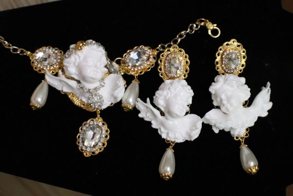 SOLD! 5626 Baroque Chubby White Cherub Clear Crytal Massive Bracelet