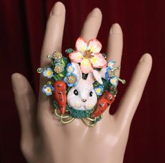 5634 Adorable Enamel Bunny Carrots Ladybug Cocktail Adjustable Ring