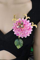 5652 Hand Painted Aster Enamel Bee Huge Massive Brooch