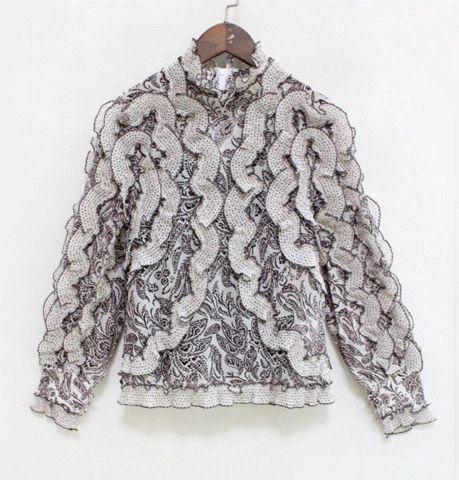 5659 High-End Ruffle Embroidery Top Polka Dot Blouse