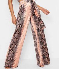 5664 Trendy Designer Colorful Snake Print Wide Leg PinkPants