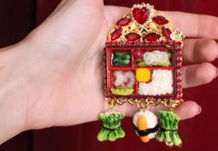 5713 Hand Painted Unusual Asian Sushi Huge Massive Brooch