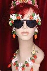 5717 Baroque Hand Painted Adorable Bunnies Carrots Embellished Sunglasses