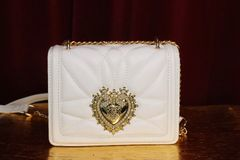 5731 Baroque Small White Color Heart Cross-body Handbag