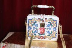 5011 Baroque Floral Print Trunk Handbag Messenger Bag