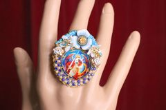 5734 Saint Michael Colorful Cameo Cocktail Adjustable Ring